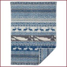 Klippan Sarek Baby grijs/blauw, wollen dekentje 65x90cm