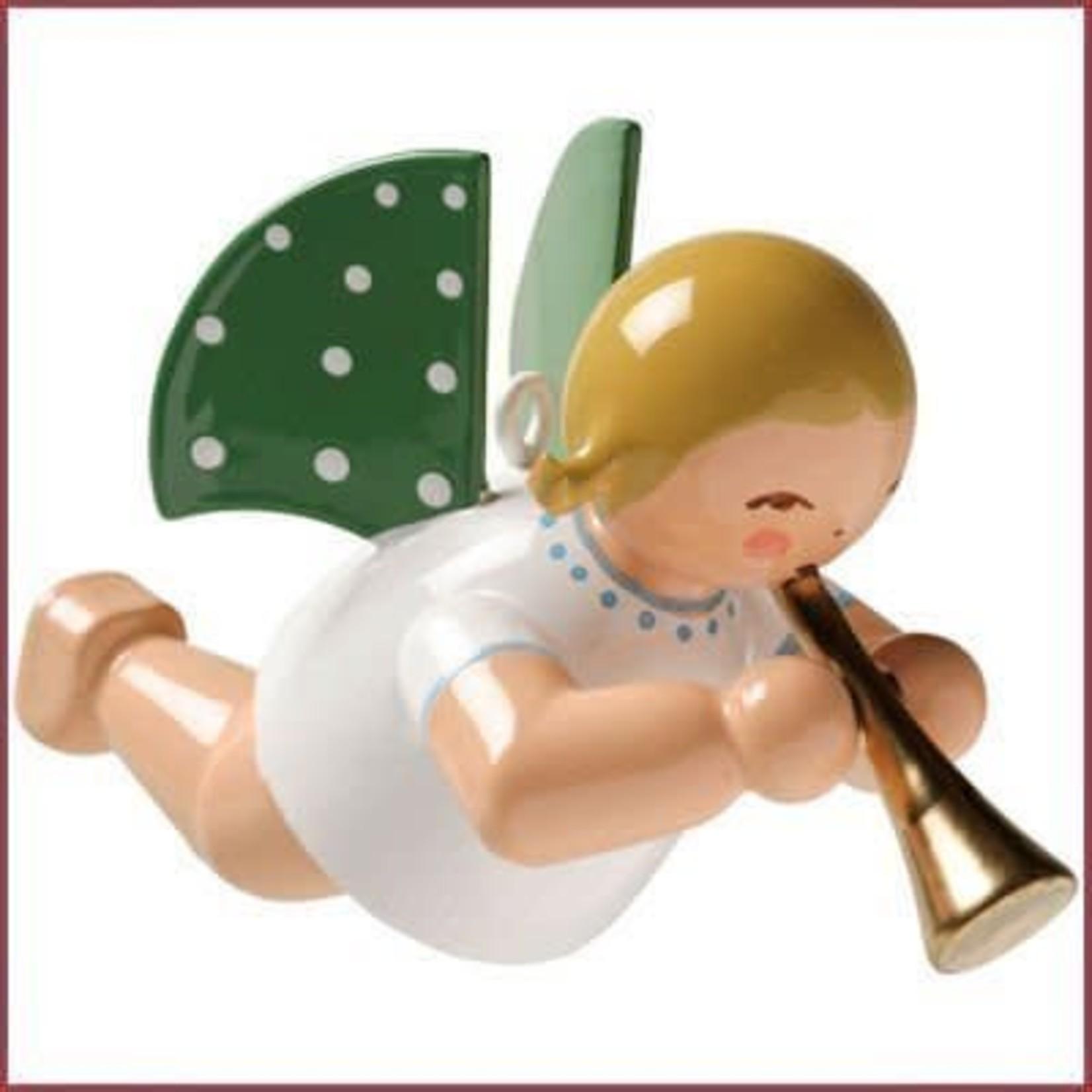 Wendt & Kühn Zwevende Grunhainichense Engel met fluit blond