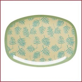 Rice Rice Rectangular Plate with Palm Leaves Print