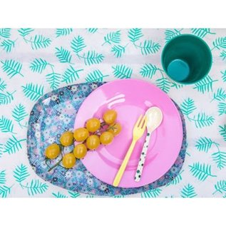 Rice Rectangular Plate with Small Flower Print