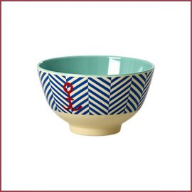 Rice Rice Bowl Two Tone Small - Sailor Stripe & Anchor print