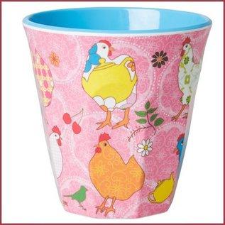 Rice Rice Two Tone Cup Hen Print Roze Medium