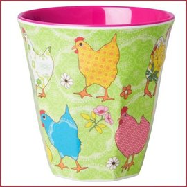 Rice Rice Two Tone Cup Hen Print Groen Medium