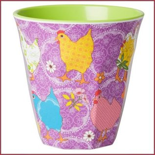 Rice Rice Two Tone Cup Hen Print Lila Medium