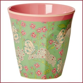 Rice Rice Cup Two Tone Medium - Butterlfly and Flower