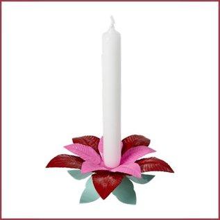 Rice Enkele kaarsenstandaard Kerstster - Poinsettia