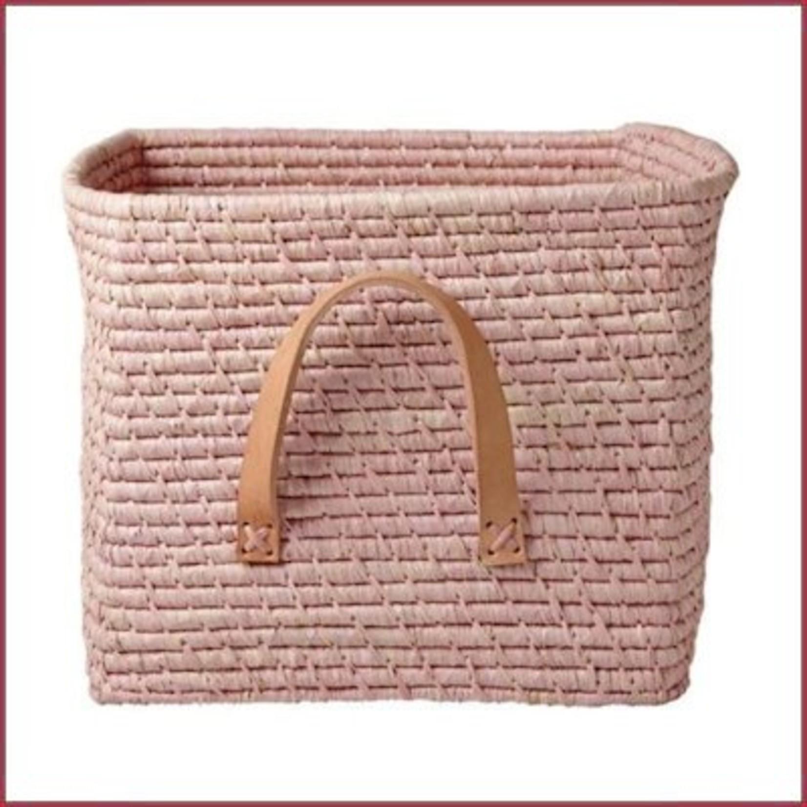 Rice Raffia vierkante mand - zacht roze
