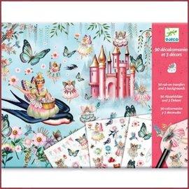 Djeco 3 Stickervellen met 90 stickers Sprookjesland
