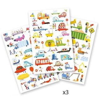 """Djeco 3 Stickervellen met 90 stickers """"Aan het stuur"""""""