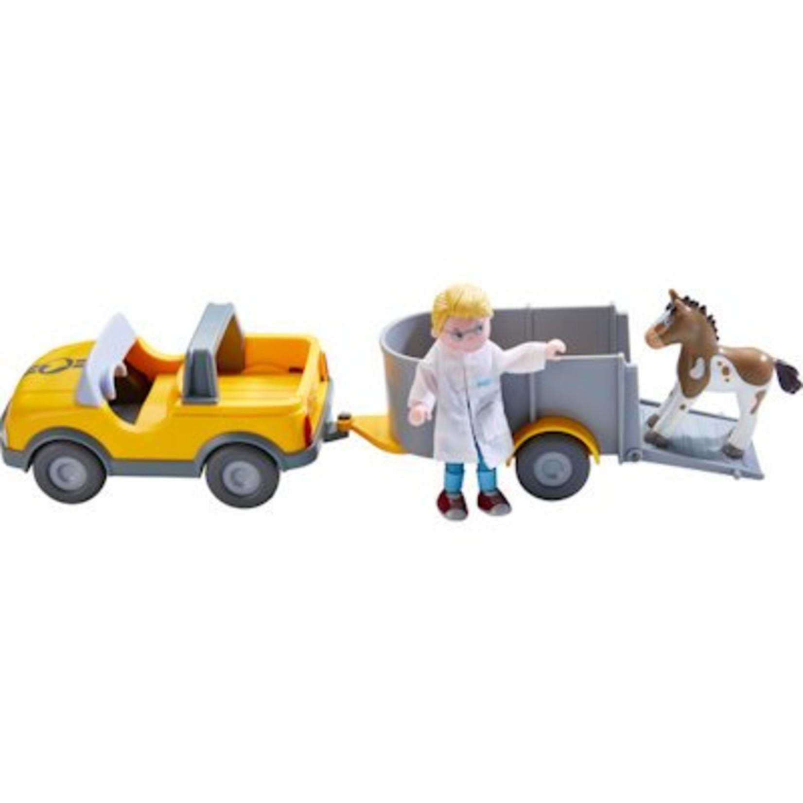 Haba Little Friends Auto Dierenarts met aanhanger