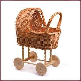 Egmont Toys Poppenwagen riet 45x24x53 cm, houten wiel