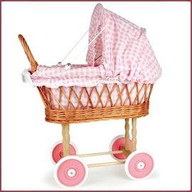Egmont Toys Poppenwagen riet 50x28x58 cm met roze/wit bekl.