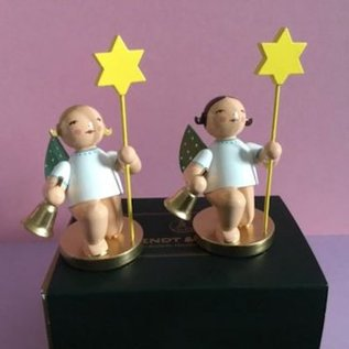 Wendt & Kühn Grünhainichense Jubileumengel knielend met bel en ster