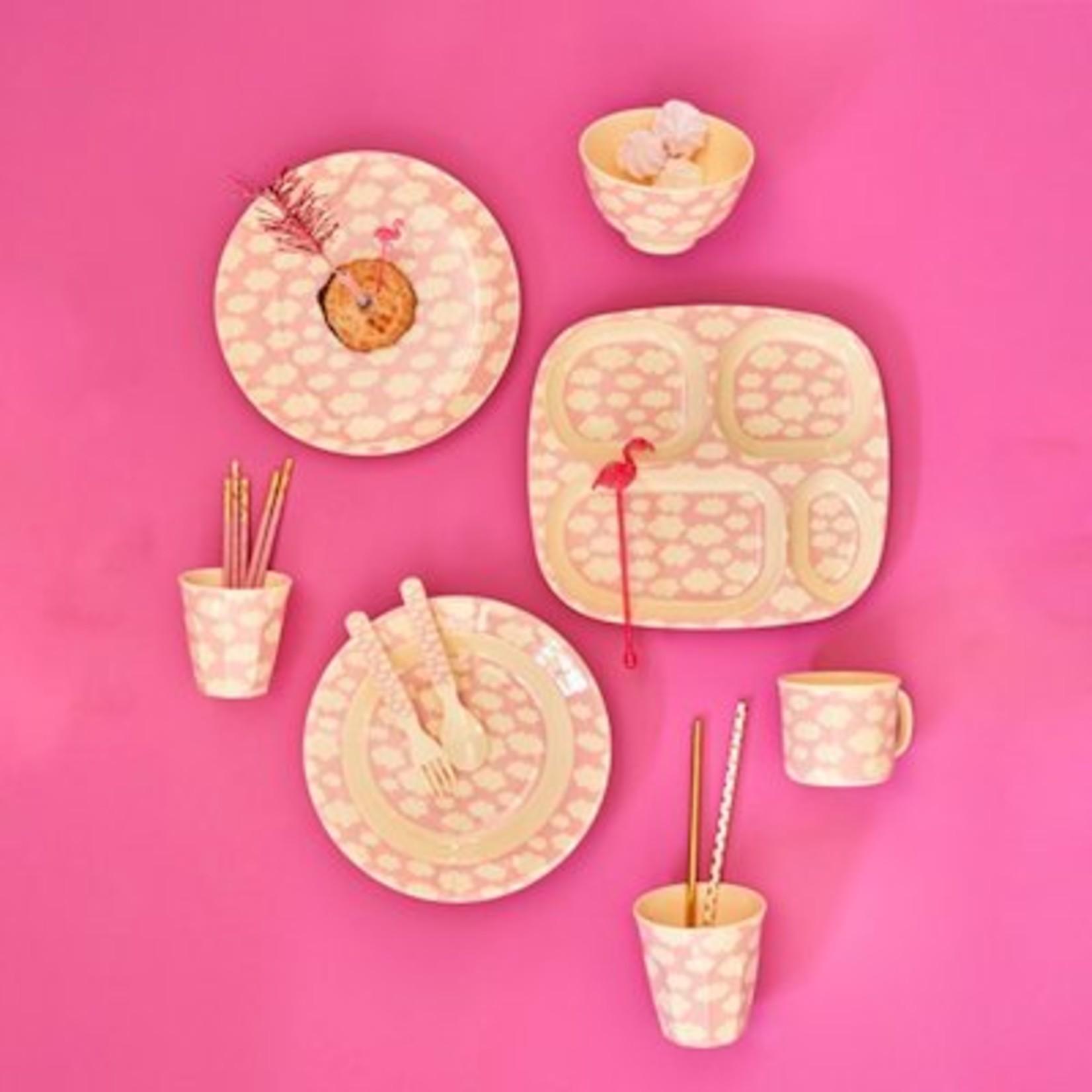 Rice Rice Bowl Small met Cloud Print Roze