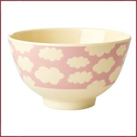 Rice Rice Bowl Small met Cloud Print Roze