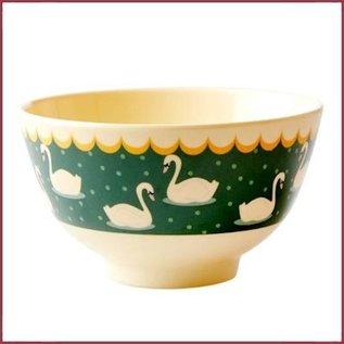 Rice Rice Bowl Small met Swan Print - Khaki -