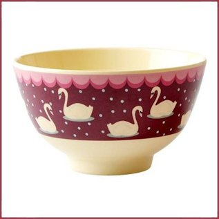 Rice Rice Bowl Small met Swan Print - Bordeaux