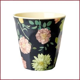 Rice Rice Melamine Cup - Dark Rose Print - Medium