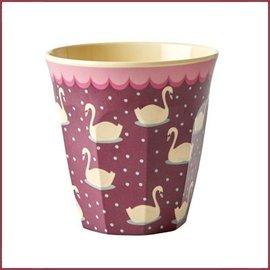 Rice Rice Cup Medium met Swan Print - bordeaux