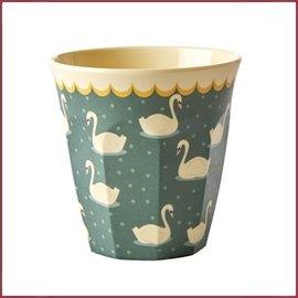 Rice Rice Cup Medium met Swan Print - Khaki