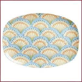 Rice Rice Rectangular Plate met Flower Fan Print