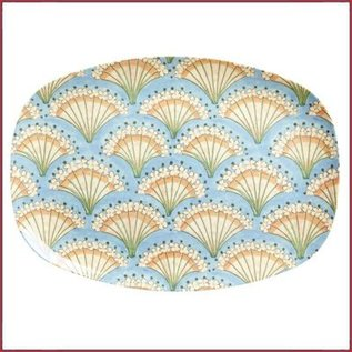 Rice Rice Rectangular Plate met Flower Fan Print