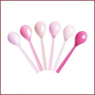 Rice Teaspoon Assorti '50 Shades of Pink' Colors - per 6