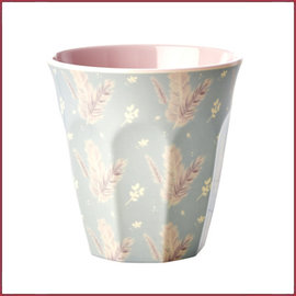 Rice Rice Melamine Cup met Feather Print - Two Tone - Medium