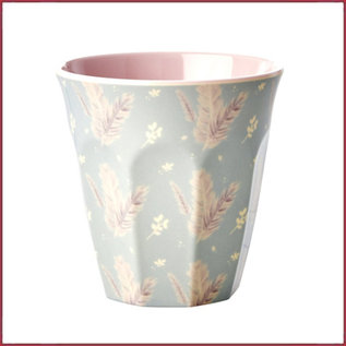 Rice Rice Melamine Cup met Feather Print - Two Tone - Medium