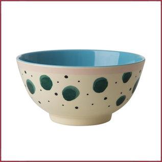 Rice Rice Melamine Bowl met Watercolor Splash Print - Two Tone - Medium