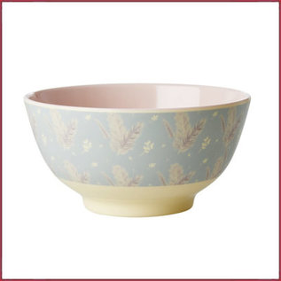 Rice Rice Melamine Bowl met Feather Print - Two Tone - Medium