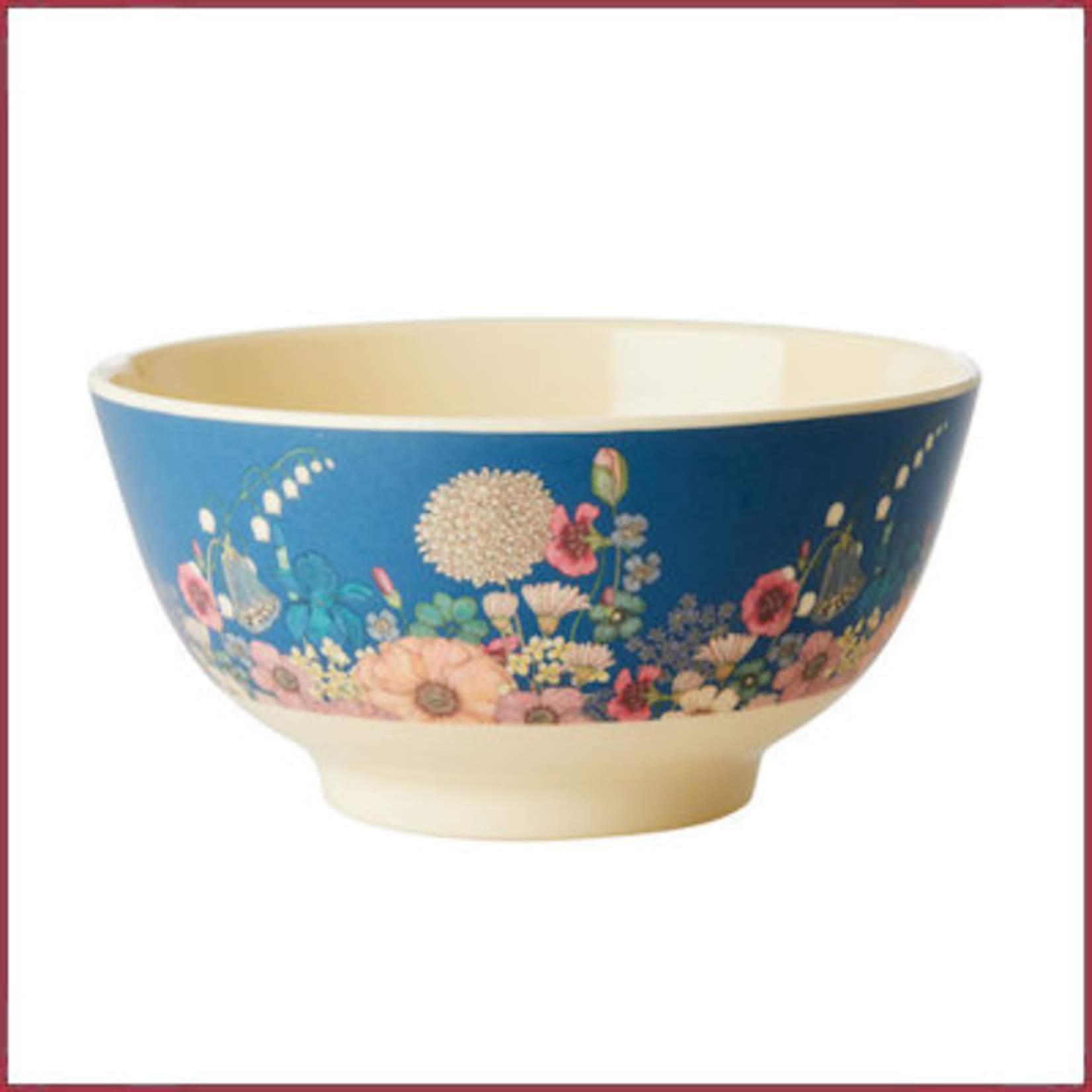 Rice Rice Melamine Bowl met Flower Collage Print - Two Tone - Medium