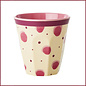 Rice Rice Melamine Cup met Pink Watercolor Splash Print - Two Tone - Medium