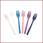 Rice Rice Melamine Cake Forks in Assorted 'Simply Yes' Colors - Bundle of 6