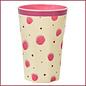 Rice Rice Melamine Cups met Pink Watercolor Splash Print - Tall