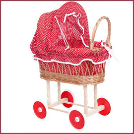 Egmont Toys Poppenwagen riet rood/witte stippen