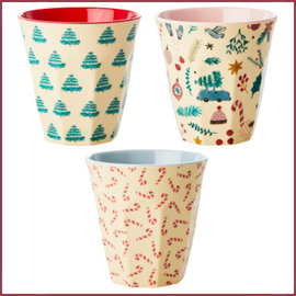 Rice Rice Melamine Cup Assortie Christmas Prints - Medium