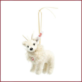 Steiff Winter Rendier ornament, wit