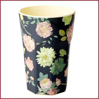 Rice Melamine Two Tone Tall Cup - Dark Rose Print