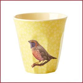 Rice Melamine Cup with Vintage Bird Print - Yellow - Medium