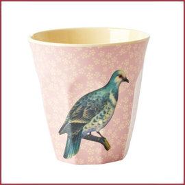 Rice Melamine Cup with Vintage Bird Print - Soft Pink - Medium