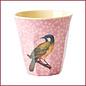 Rice Melamine Cup with Vintage Bird Print - Pink - Medium