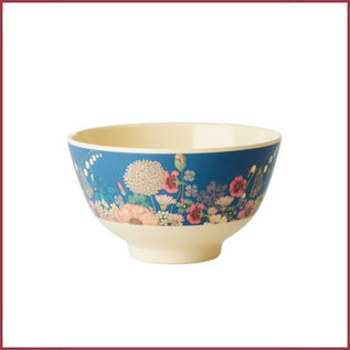 Rice Rice Melamine Bowl met Flower Collage Print - Two Tone - Small