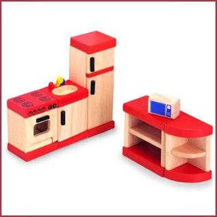 Houten keuken voor poppenhuis