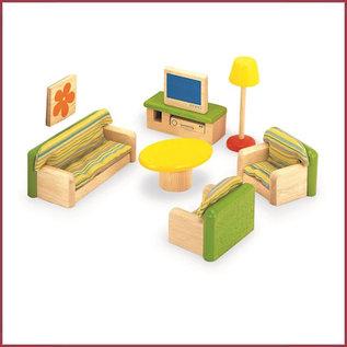 Houten woonkamer voor poppenhuis