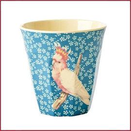 Rice Rice Cup Medium Vintage Bird Print Blue