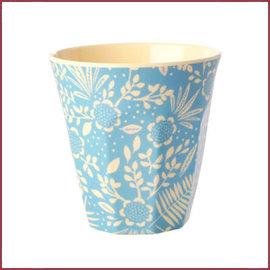 Rice Rice Cup Medium met Blue  Fern & Flower print