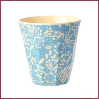 Rice Rice Beker Medium met Blue  Fern & Flower print