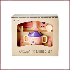 Rice Rice Baby dinner set in cadeau box - Pink Bunny Print