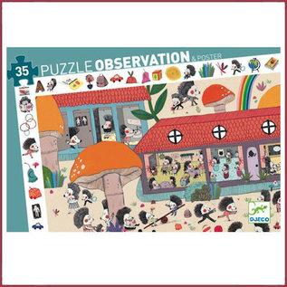 Djeco Observatie Puzzel - Egeltjes school